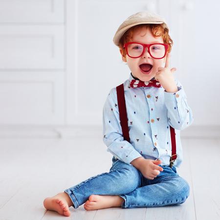 portrait of beautiful redhead toddler baby boy Foto de archivo