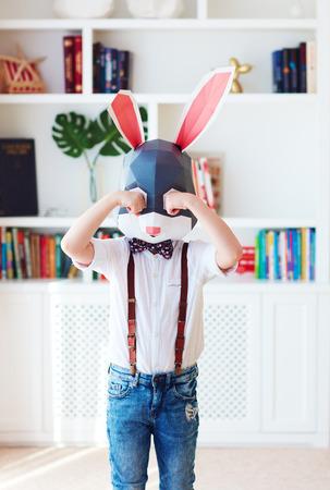 upset young bunny rabbit character crying alone at home