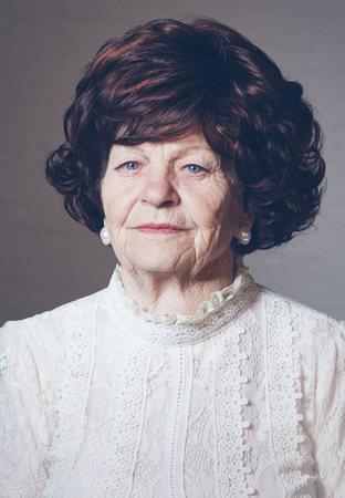 portrait of mature elegant woman, 80 years old