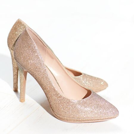 golden high heel shoes, cinderella pointy pump shoe