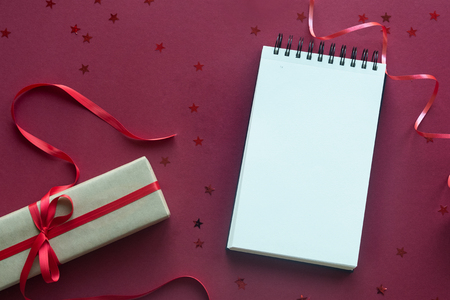 Christmas holidays composition on red background with copy space for your text Stock Photo