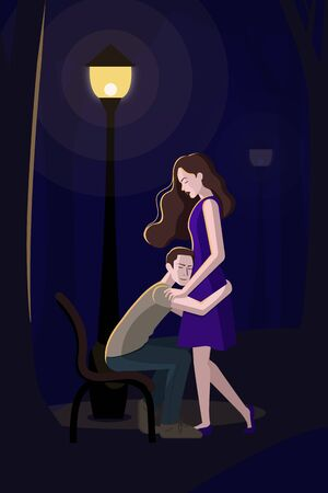 Dark blue at night have you met girl and guy. The boy sits on a bench and hugs the girls waist. She put her hand on his shoulder and closed her eyes. They are very fond of each other, like Romeo and