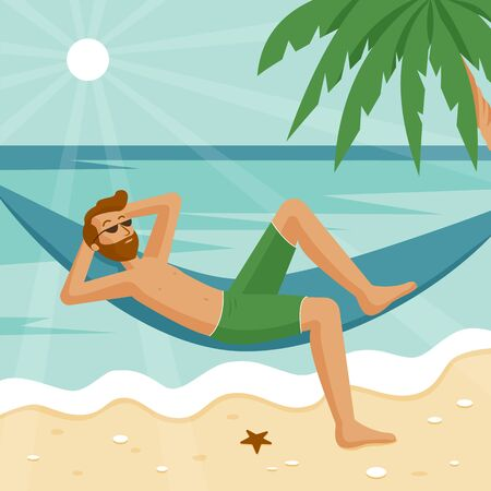 A man with a red beard and dark glasses on vacation resting on the blue sea in a hammock. A green palm tree is visible, and stones and a starfish lie on the beautiful smooth sand. Stock Illustratie