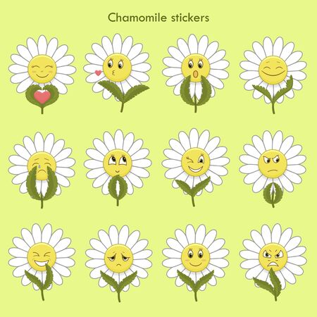 Cute gentle emotional chamomiles. Vettoriali