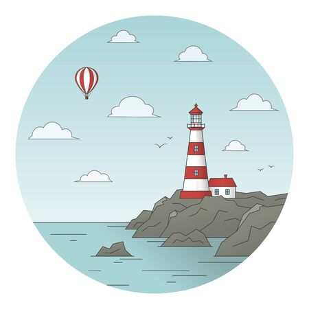 The composition is in a circle with a white-red lighthouse and a house on a rock, as well as the sea and a aerostat and seagulls in the sky.