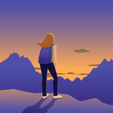 The girl stands on the mountain and looks at the sunset. Illusztráció