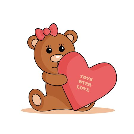 Logo with a small bear with a bow and a big heart. Can be used as logo a toy shop or for baby store.