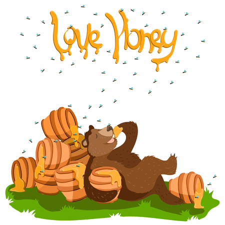 Grizzly Lazy Brown Bear illustration  イラスト・ベクター素材