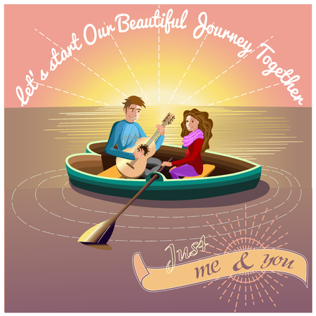 dating icons: Love Journey morning presentation card with sun and heart boat on the lake with young couple inside, with romantic quote.