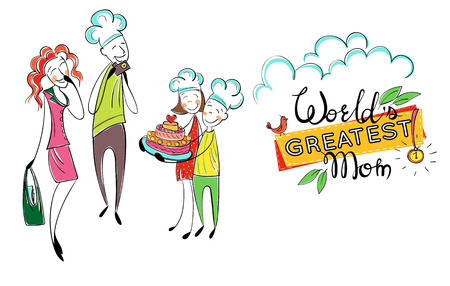 Mothers day. Happy family with kids. Greeting mom with cake. Children and father love mother, give present. Father is taking a picture. Hand drawn cartoon illustration