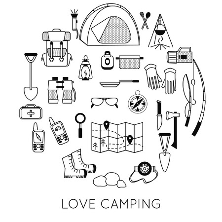 camping emblems. Black and white camping symbols. Set of camping equipment icons isolated on white. Big illustrations of tent, tourist map, backpack and fireplace.  イラスト・ベクター素材
