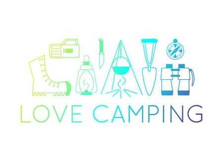 camping emblems. color camping symbols. Set of equipment icons. illustrations of fireplace, boot, lantern, binoculars.  イラスト・ベクター素材