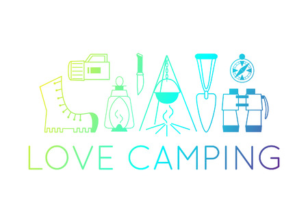 camping emblems. color camping symbols. Set of equipment icons. illustrations of fireplace, boot, lantern, binoculars. 向量圖像