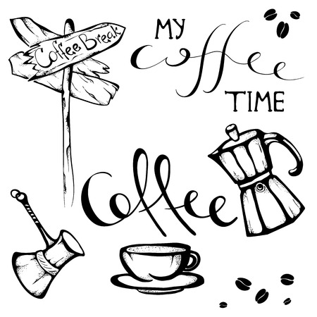 set of Hand drawn coffee quotes and pictures