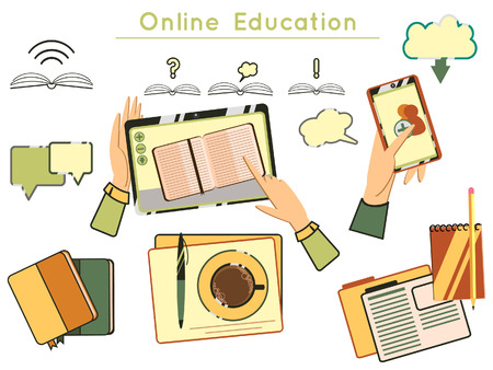 set of elements online education design template with books and tablets. Education, graduation, training material study, learning, reading book, back to school. Flat design website elements layout.  イラスト・ベクター素材