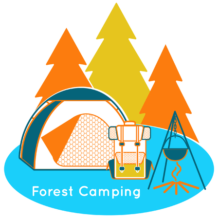 Forest Camping near the wood in the evening  イラスト・ベクター素材
