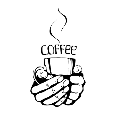 fallow: cup of Coffee - black illustration. Coffee cup with steam and word. isolated typography design element for greeting and post cards.