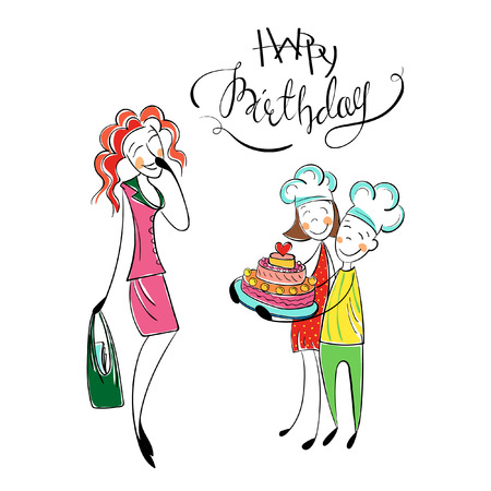 birth day: Mothers birth day. Happy family with kids. Greeting mom with cake. Children love mother, give present. Happy birthday card. Hand drawn cartoon illustration Illustration