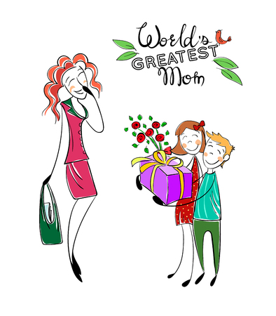 Mothers day. Happy mother with kids. Greeting mom with present. Children love mother, give present and flowers. World's greatest mom quote.cartoon illustration