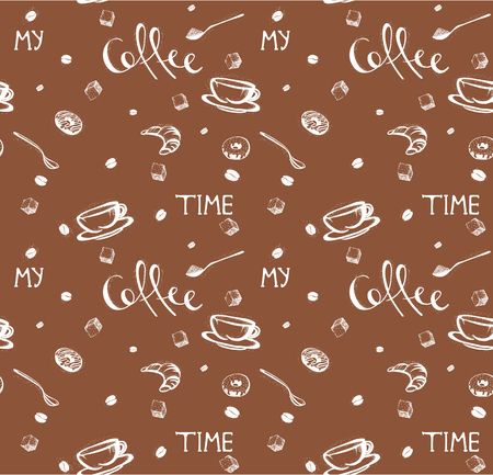 coffee seamless pattern. My coffee time quote. Doodles of coffee cup, donuts, spoons, coffee beans. illustration