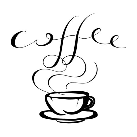 lea: cup of Coffee -  black illustration. Coffee cup with steam and word. isolated typography design element for greeting and post cards.