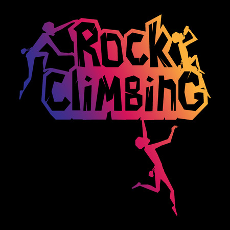 Rock Climbing words on the rock with climbers in different poses. Rocky emblem with climbers on, illustration