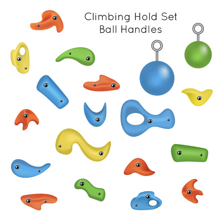 atop: Training set. Colorful climbing grips, climbing holds, crimps, jugs, incuts, pinches, slopers, ball handles for bouldering and climbing wall. Isolated on white. illustration