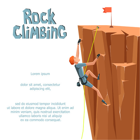 Rock Climbing boy. Isolated On White Background. Graphic Design Editable For Your Design. Illustration