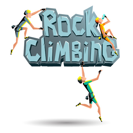 rocky: Rock Climbing words on the rock with climbers in different poses. Rocky emblem climbing illustration sign rock, stone texture letters