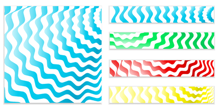set of blue swirled abstract shiny wavy spirals backgrounds, flyers, horizontal banners. Water, stripes background. Vector flyer template or corporate banner design with stripes and spiral sea waves.