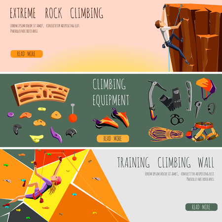 Rock climbing adventure horizontal banner set with climbing equipment elements and climbers.vector illustration  イラスト・ベクター素材