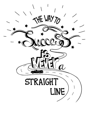 Hand drawn quote The Way To Success In Never A Straight Line. The road in the hills. Vector illustration  イラスト・ベクター素材