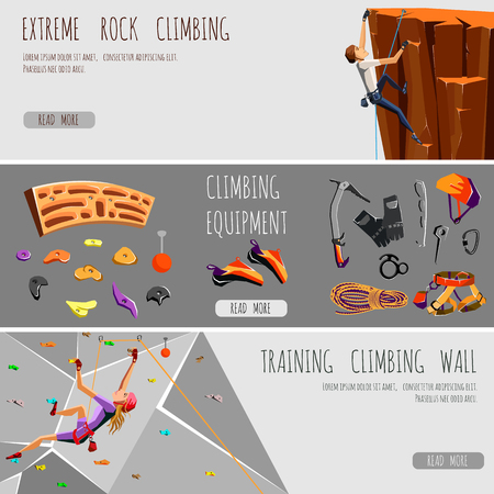 climbing gear: 3 banners of rock climbing equipment and training gear. Mountain climbing. Rock climbers. Extreme sport. Flat style vector illustration. Vector illustration