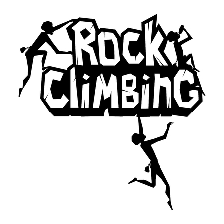 Rock climbing emblem. Man is climbing the rock. Black print isolated on white. Vector illustration