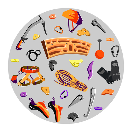 climbing gear: rock climbing equipment and training gear in a circle. Vector illustration Illustration