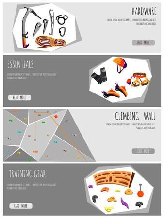 Rock climbing adventure horizontal banner set with climbing equipment elements.vector illustration 向量圖像