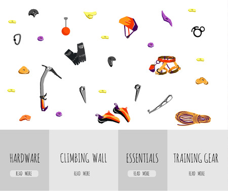 climbing gear: Web page with rock climbing equipment and training gear isolated on white. Vector illustration Illustration