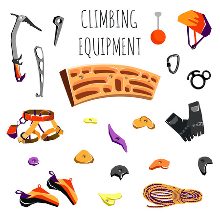 climbing gear: rock climbing equipment and training gear isolated on white. Vector illustration Illustration