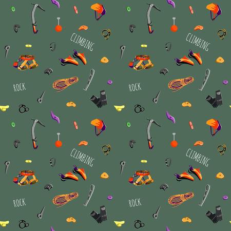 rock climbing equipment seamless pattern. Vector illustration