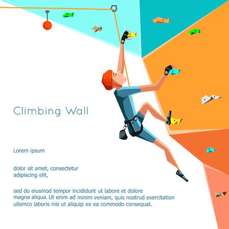 Trainings Kletterwand mit Griffen und hält. Schaukeln Junge Klettern. Stilisierte Kletterwand auf weißem Hintergrund. Bouldern Sport. Grafik Klettern editable. Vektor-Illustration