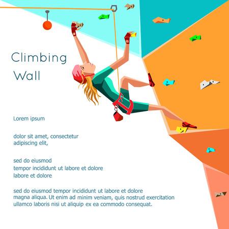 niño trepando: Formación muro de escalada con los agarra y sostiene. Muchacha de la roca de escalada. Aislado en el fondo blanco. Boulder deporte. Diseño gráfico editable para su diseño. Ilustración del vector