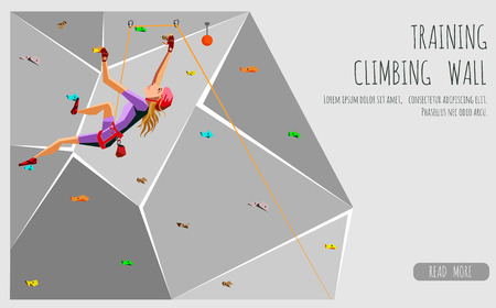Training climbing wall with grips and holds. Rock Climbing girl. On Grey Background. Bouldering sport. Graphic Design Editable For Your Design. Vector Illustration