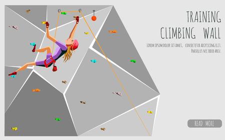 Trainings Kletterwand mit Griffen und hält. Rock-Mädchen Klettern. Auf grauem Hintergrund. Bouldern Sport. Graphic Design Editierbare Für Ihr Design. Vektor-Illustration Vektorgrafik