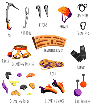 climbing gear: Set of rock climbing equipment, mountaineering and camping, clothes, shoes, training gear. Vector illustration