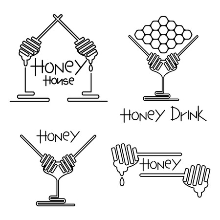 set of Honey and wax label, yellow graphic lined for honey logo products. Honey house emblem. Honey spoons together for cafe sign. Abstract hive symbol. Vector illustration