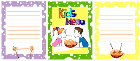 Cute colorful kids meal menu template. comic kids eating spaghetti together. Boy and girl eating pasta. vector illustration  イラスト・ベクター素材