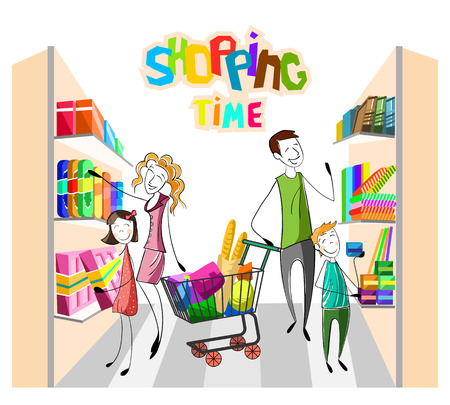 Customers shopping at the market. Hand drawn happy customer family in the market buy products. Kids with parents in the shop. Father, mother, sister, brother are customers. Vector illustration