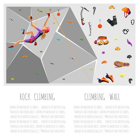 Web page with place for text. Rock climbing horizontal banner with climbing equipment elements and climber girl.vector illustration  イラスト・ベクター素材