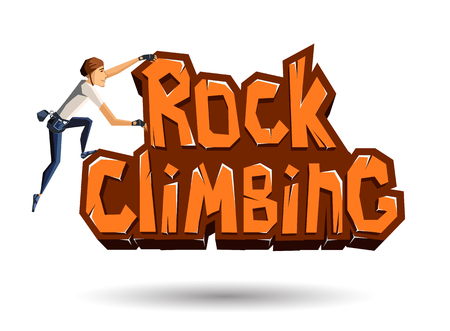 rocky: Rock Climbing words on the rock with climber climbing on. Rocky emblem in cartoon style. Vector illustration