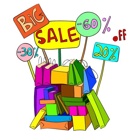 Big Sale Banner Design for shop, online store. Discount up to 60%, 20%, 30%, off in hand drawn style with boxes and bags. Vector illustration.  イラスト・ベクター素材